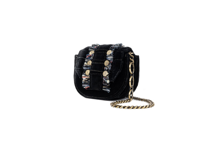 Velvet Shoulder Bag - Bubble 'Orbit' Black