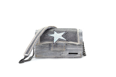 Leather Shoulder Bag - Disco Silver