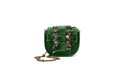 Velvet Shoulder Bag - Bubble 'Orbit' Green