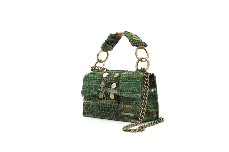 "Leather Shoulder Bag - New Yorker Soho ""Angel"" Green/Gold"