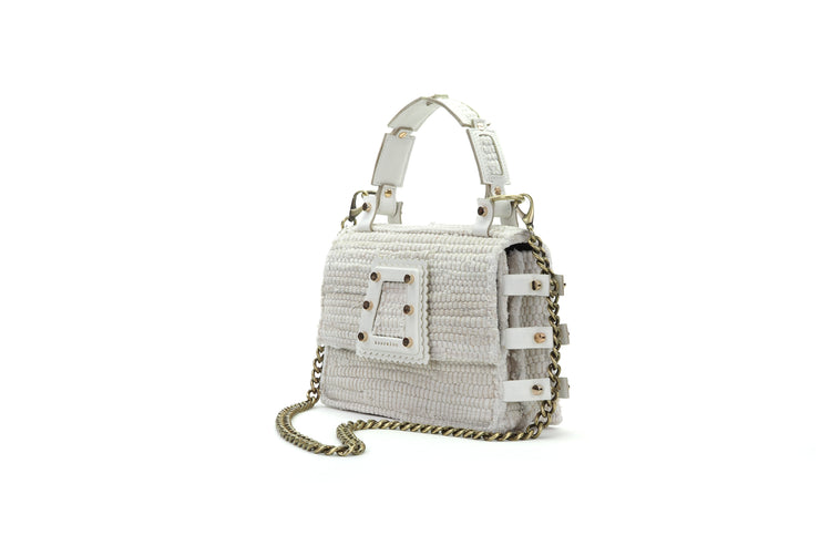 Fabric & Leather Shoulder Bag - Ersilia White