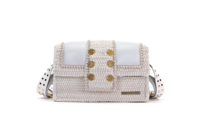 "Fabric & Leather Shoulder Bag - Hollywood ""Babe"" White"