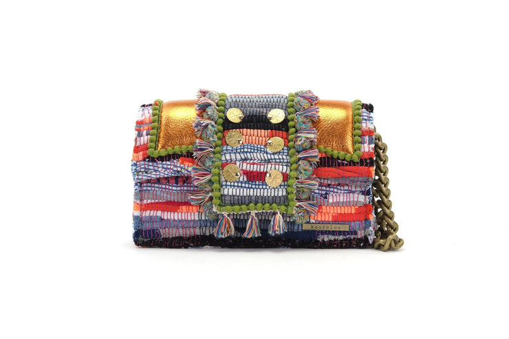 "Fabric & Leather Shoulder Bag - Hollywood ""Babe"" Metallic Tangerine"
