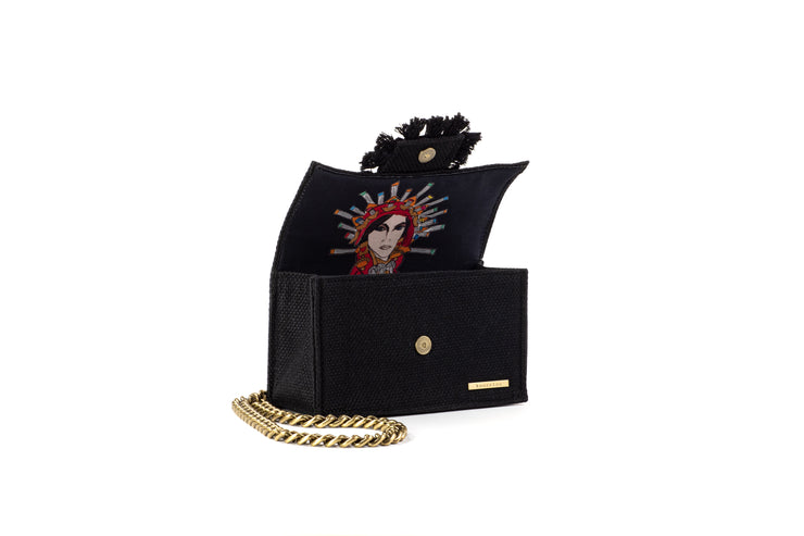Shoulder Bag - Soho Tweed Black/ Gold coins(Black Tassels)
