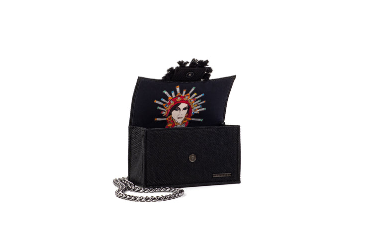 Shoulder Bag - Soho Tweed Black/ Gunmetal coins(Black Tassels)