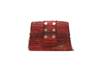 Leather Shoulder Bag - A Line Maxima Red