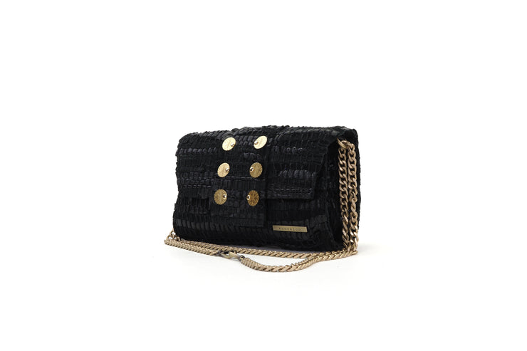 Medium Leather Clutch - 3D Black
