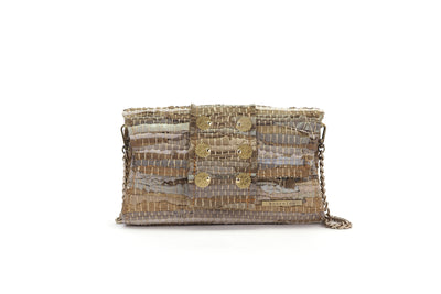 Medium Leather Clutch - 3D Beige