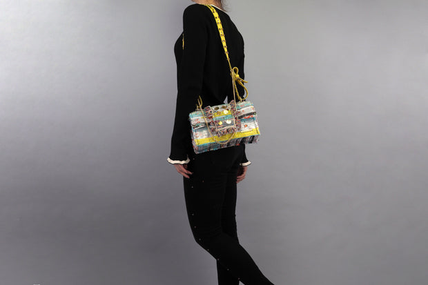 Fabric & Leather Shoulder Bag - New Yorker Soho Multi Studs Yellow