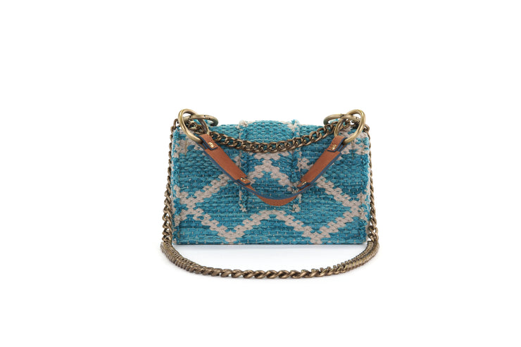 Fabric Shoulder Bag - SoHo Rhombus Petrol Knot