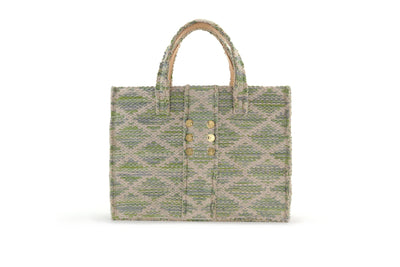 Fabric Book Tote - Rhombus Green Knot