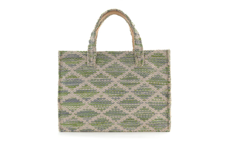 Fabric Book Tote - Rhombus Green Knot cs