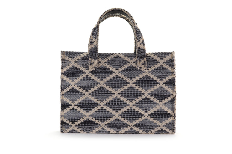 Fabric Book Tote - Rhombus Grey Knot