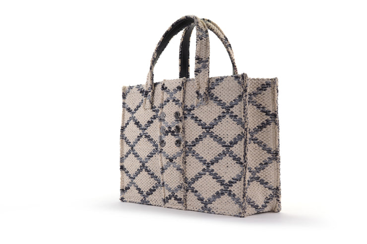 Fabric Book Tote - Rhombus Grey Love