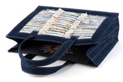 Book Tote Tweed DarkDenim/ White Gold coins