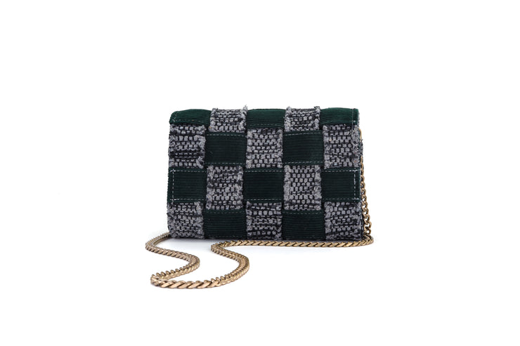 Medium Pixel Clutch - Corduroy Green / Grey