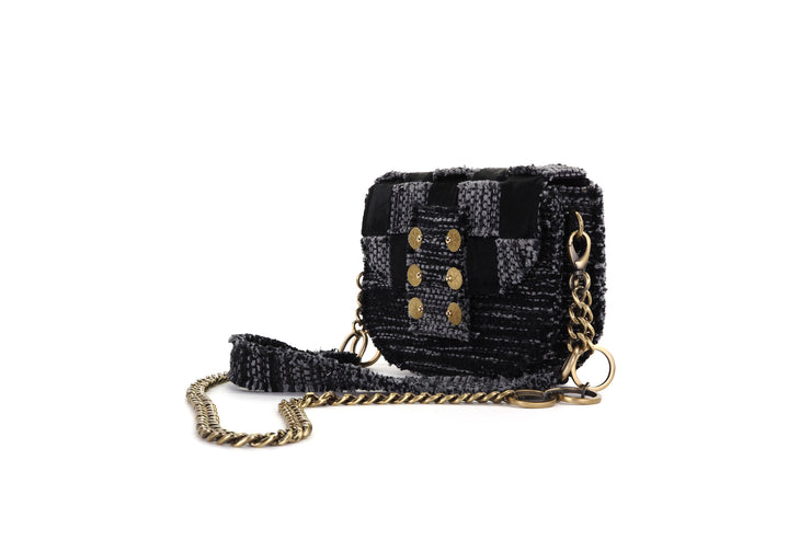 Fabric & Leather Shoulder Bag - Pixel 'Orbit' Black