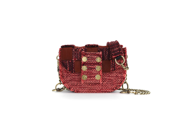 Fabric & Leather Shoulder Bag - Pixel 'Orbit' Red
