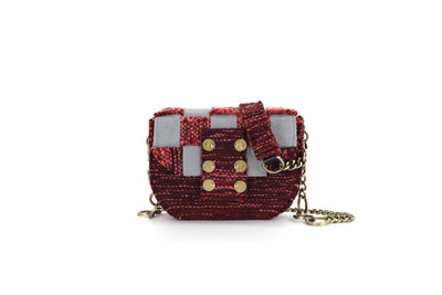 Fabric & Leather Shoulder Bag - Pixel 'Orbit' Burgundy / Grey