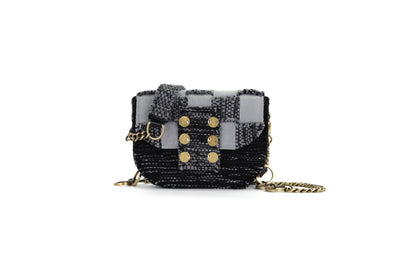 Fabric & Leather Shoulder Bag - Pixel 'Orbit' Black / Grey