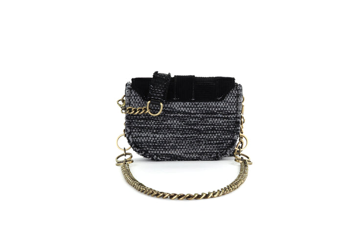 Fabric Shoulder Bag - Pixel 'Orbit' Black / Black Corduroy