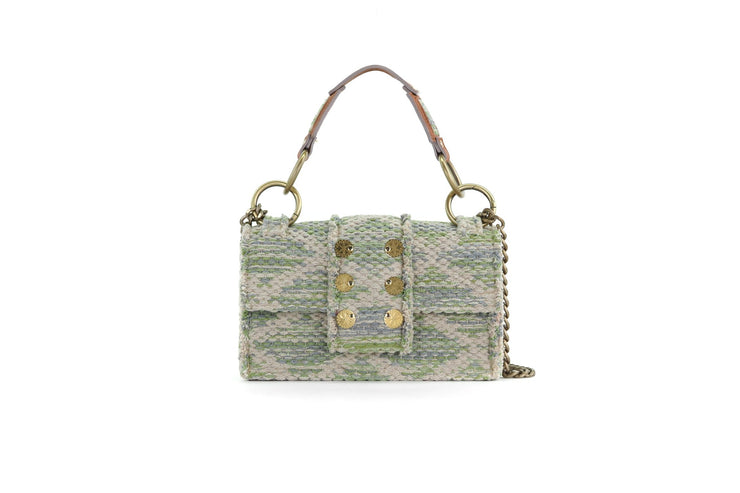 Fabric Shoulder Bag - SoHo Rhombus Green Knot
