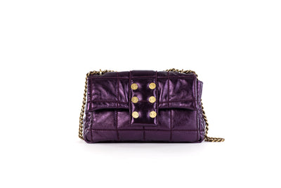 Shoulder bag San Francisco Pillow Metallic Leather Viola