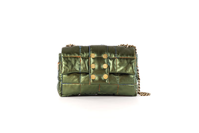 Shoulder bag San Francisco Pillow Metallic Leather Verde
