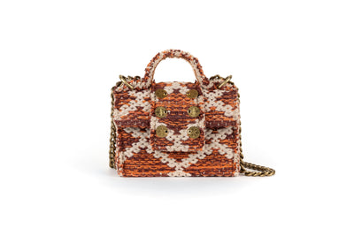 Fabric Shoulder Bag - Petite Rhombus Amber Knot