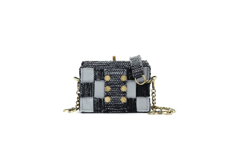 Fabric & Leather Shoulder Bag - Pixel 'Jasper' Black / Grey