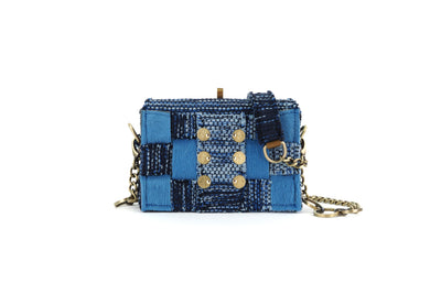 Fabric & Leather Shoulder Bag - Pixel 'Jasper' Blue