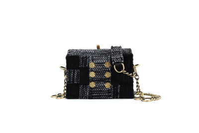 Fabric & Leather Shoulder Bag - Pixel 'Jasper' Black