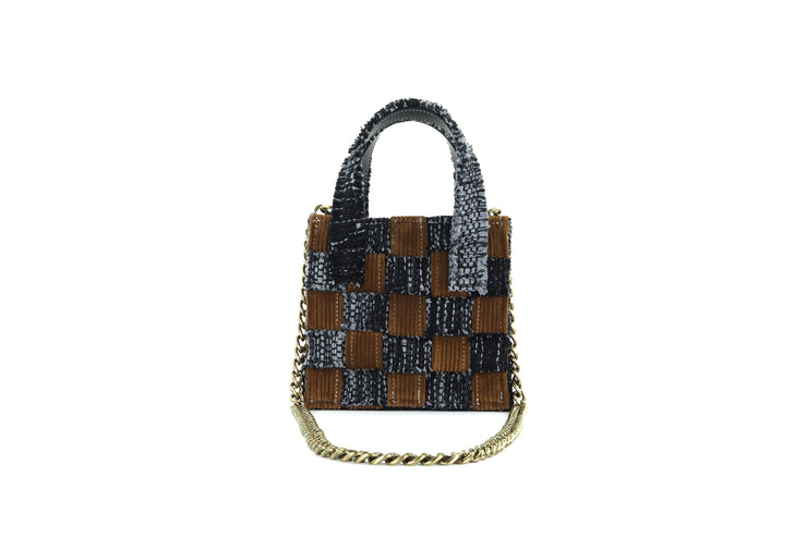 Mini Tote - Pixel Black / Honey Corduroy