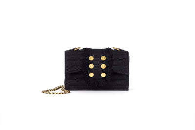 Shoulder Bag - Soho Quilted Tweed Black/ Gold coins(Black Tassels)