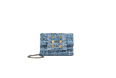 Clutch Tweed Candy Blue (trim)Gold coins