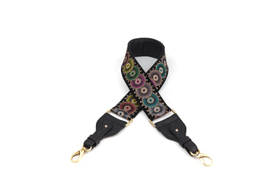 Guitar Strap Black  Velvet /Rainbow Circles