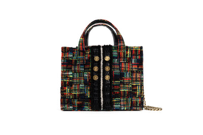 Tweed Diana Tote - Checky Green / Red