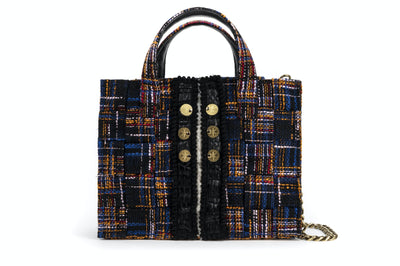 Tweed Diana Tote  Blue / Orange