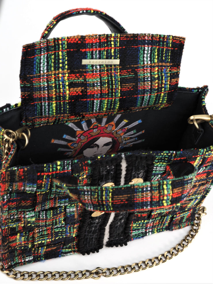 Tweed Diana Tote  Green / Red