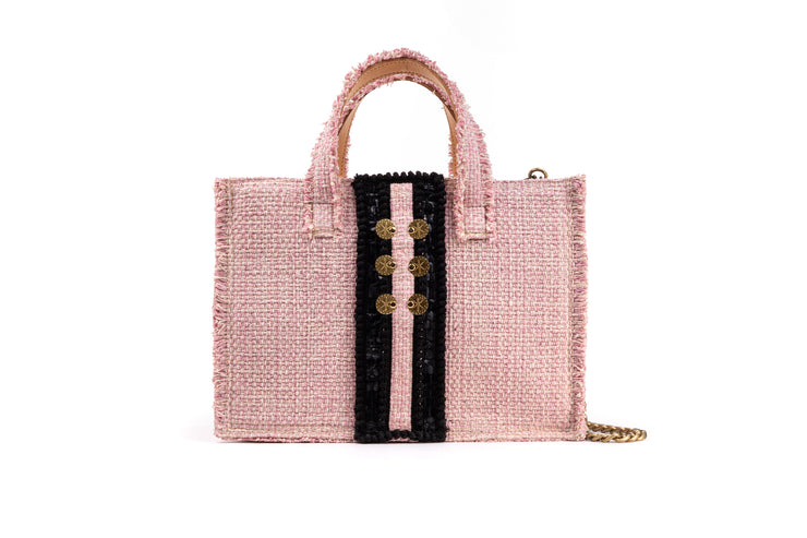 Fabric Midi Book Tote - Diana Epiphany Baby Pink