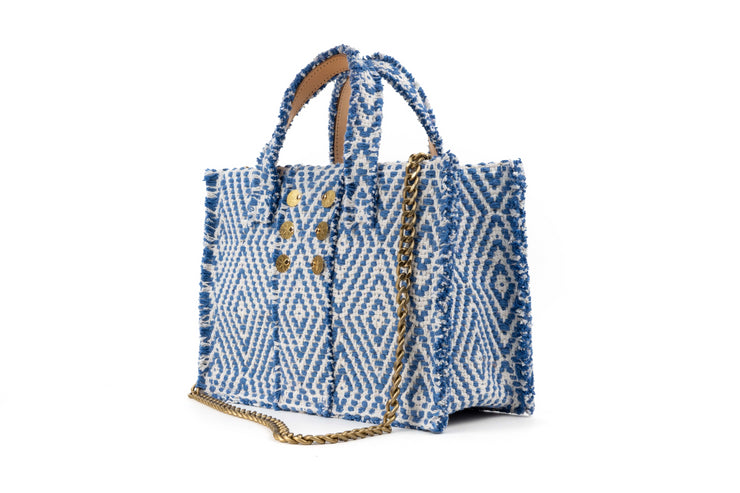 Fabric Book Tote Midi - Cali Blue