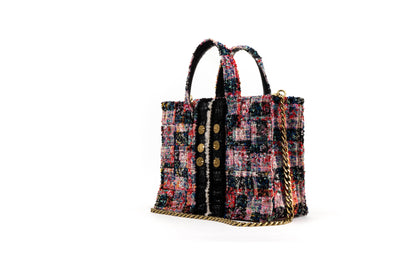 Tweed Diana Book Tote - Cicadas Red / Blue