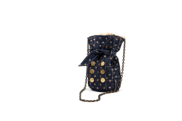 Denim Pouch - Charlotte Blue with Sequins