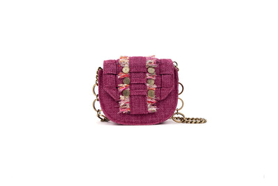 Fabric Shoulder Bag - Bubble 'Orbit' Fuchsia Tweed
