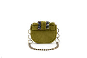 Velvet Shoulder Bag - Bubble 'Orbit' Olive Green