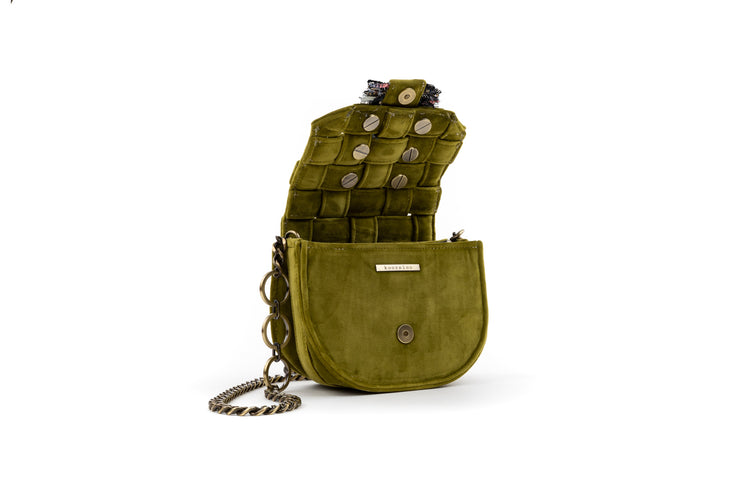 Fabric Shoulder Bag - Bubble 'Orbit' Olive Green Velvet