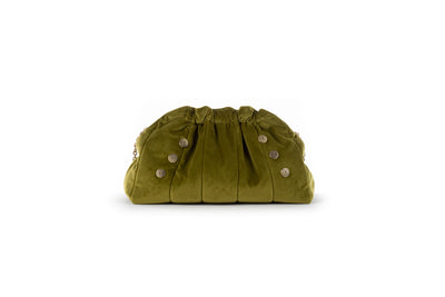 The Chain Clam Olive Green Velvet