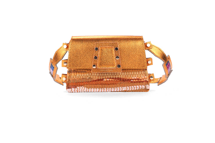 Leather & Fabric Belt Bag - Ersilia Orange