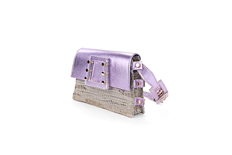 Leather Belt Bag - Ersilia Off-white / Metallic Mauve