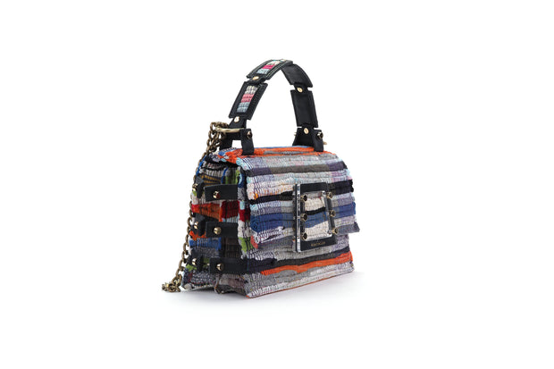 Fabric & Leather Shoulder Bag - Ersilia Multi
